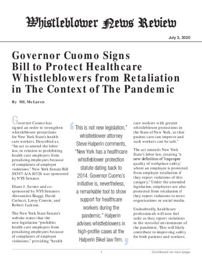Governor Cuomo Signs Bill to Protect Healthcare Whistleblowers from Retaliation in The Context of The Pandemic